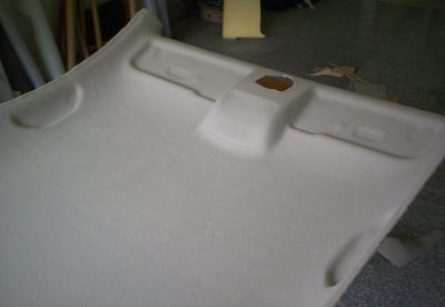 newly recovered vw beetle headliner board