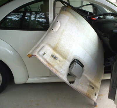 take the headliner board out of the VW Beetle